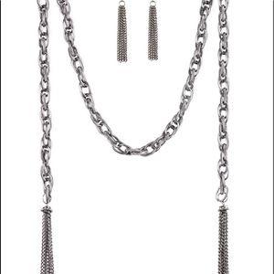 Spiral interlocking silver link scarf necklace set